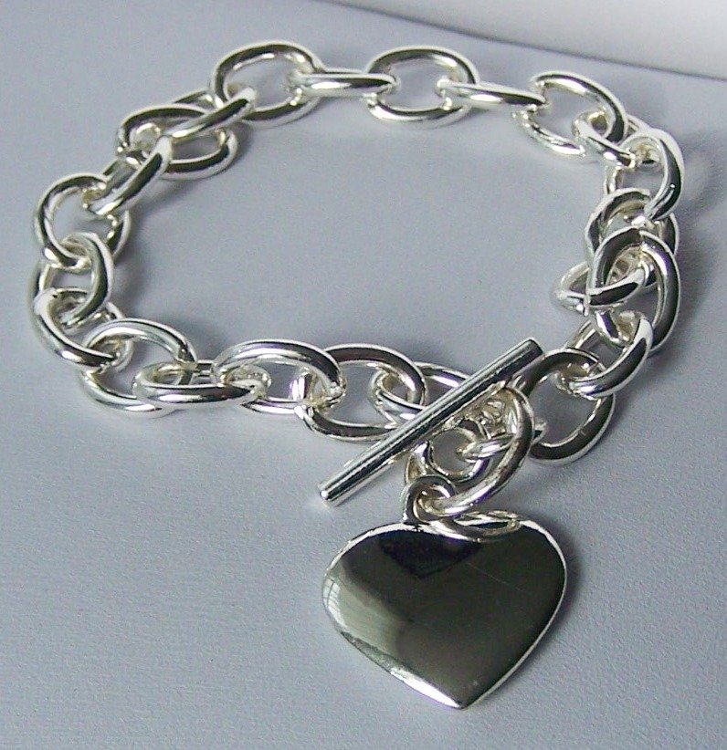 Silver Tone SP Heart Love Valentines Day Charm Bracelet