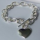 Silver Tone SP Heart Love Valentines Day Charm Bracelet