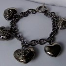 Puffy Hematite Tone Key 3D Heart Love Valentines Day Charm Bracelet