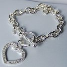 Clear Crystal Silver Tone SP Heart Love Valentines Day Charm Bracelet