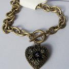 Black Crystal Gold Tone Heart Love Valentines Day Charm Locket Bracelet