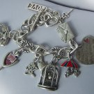 Chunky Filigree Silver Tone Key I Love You Je Ti Amo 3D Heart Love Valentines Day Charm Bracelet