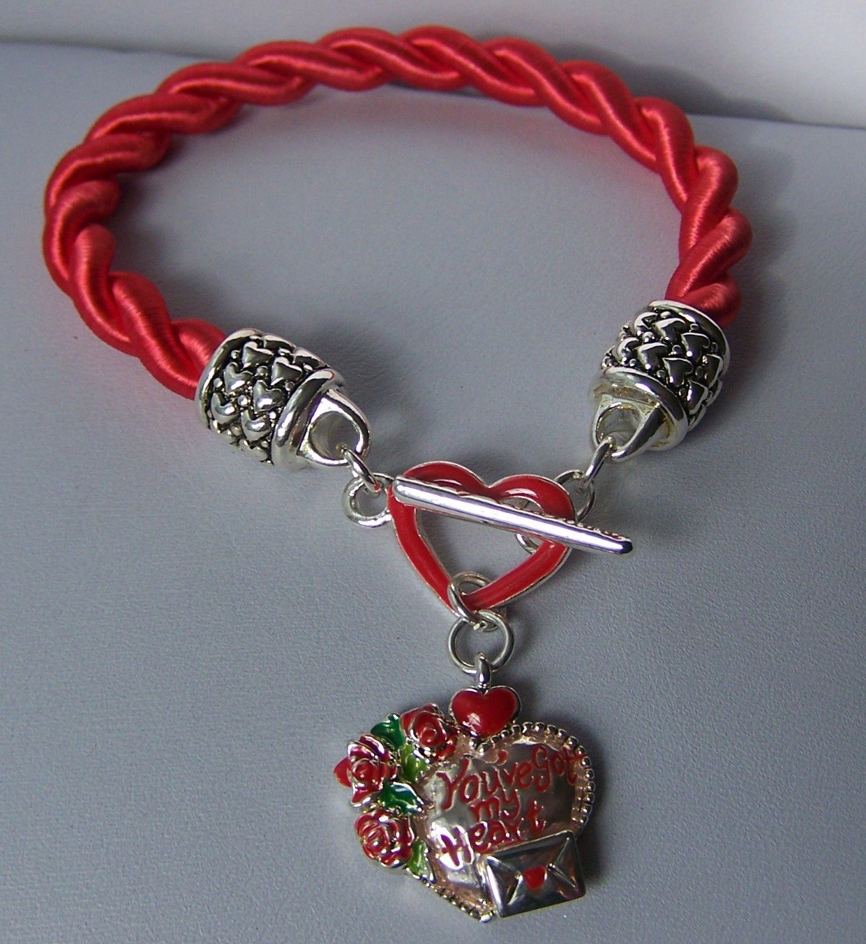 Red You're My Heart Love Valentines Day Charm Bracelet