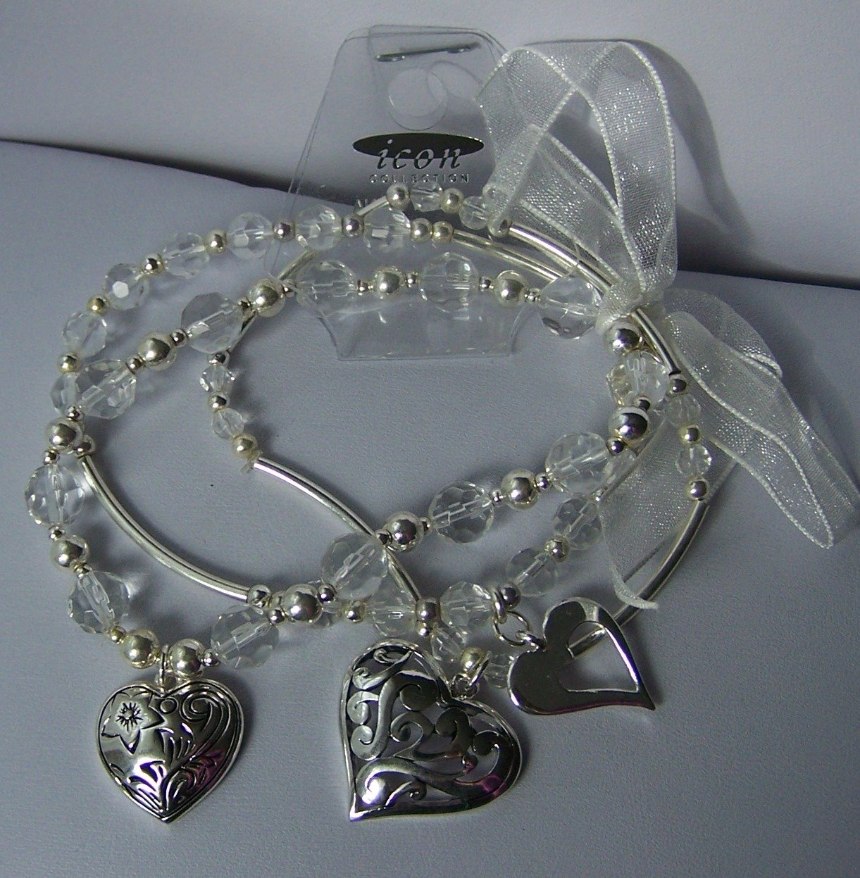 Ribbon Clear Bead Multistrand Heart Love Valentines Day Charm Bracelet