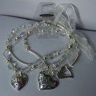 Ribbon Clear Bead Multistrand Heart Love Valentines Day Charm Bracelet