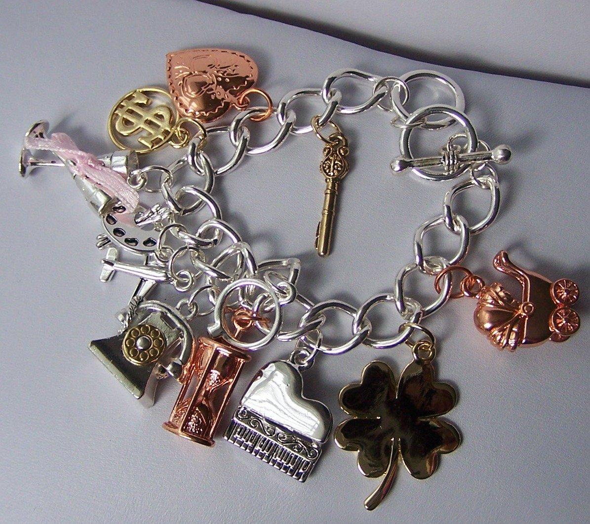 Tri Wedding Bride Bridal Money Key Travel Good Luck Baby Sands of Time Heart Love Charm Bracelet