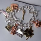 Tri Wedding Bride Bridal Money Key Travel Good Luck Baby Sands of Time Heart Love Charm Bracelet