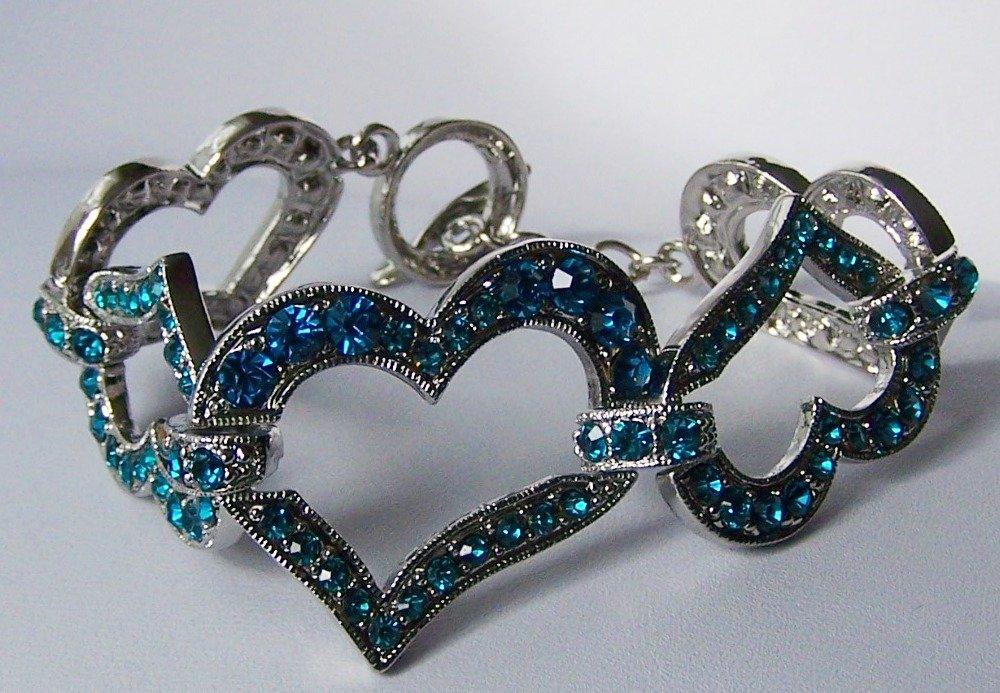 Blue Zircon Crystal Heart Love Valentines Day Bangle Bracelet