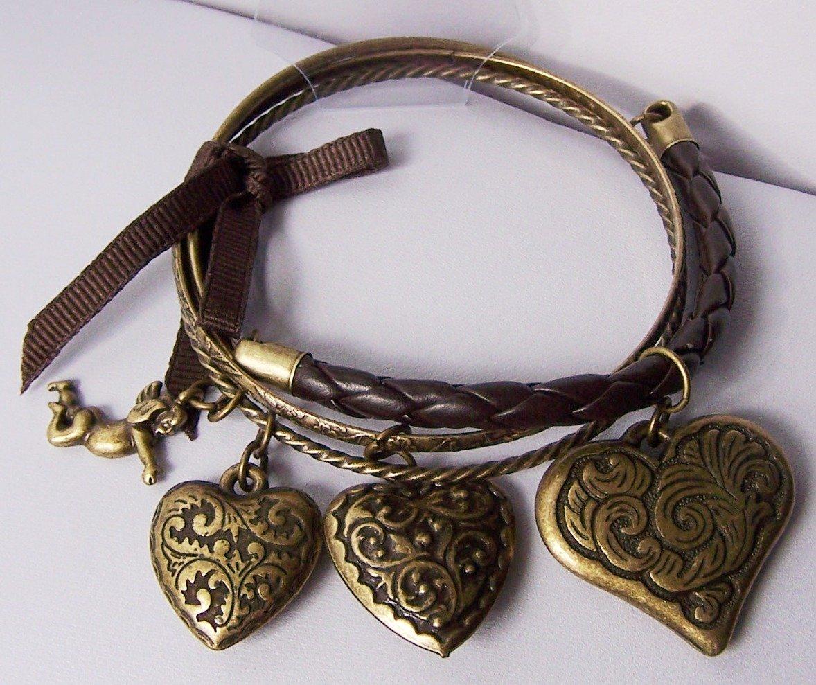 Burnished Cherub Guardian Angel Brown Ribbon Braided Bangle Heart Love Valentines Day Charm Bracelet