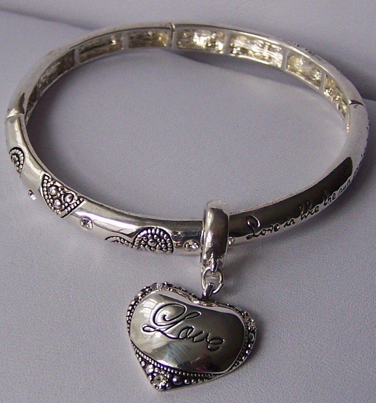 Textured Charm Heart Love Valentines Day Bangle Bracelet