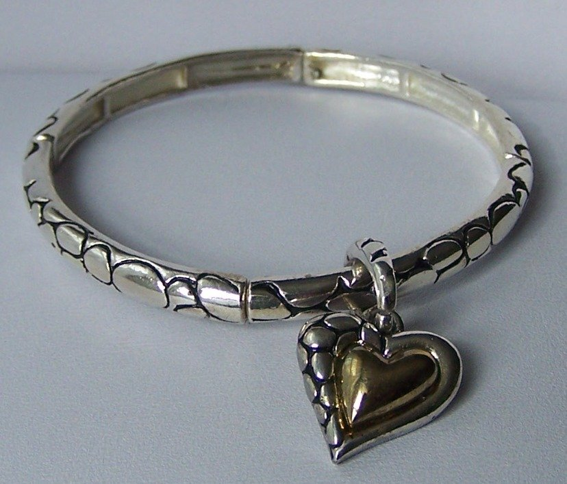 Two Tone Textured Charm Heart Love Valentines Day Bangle Bracelet