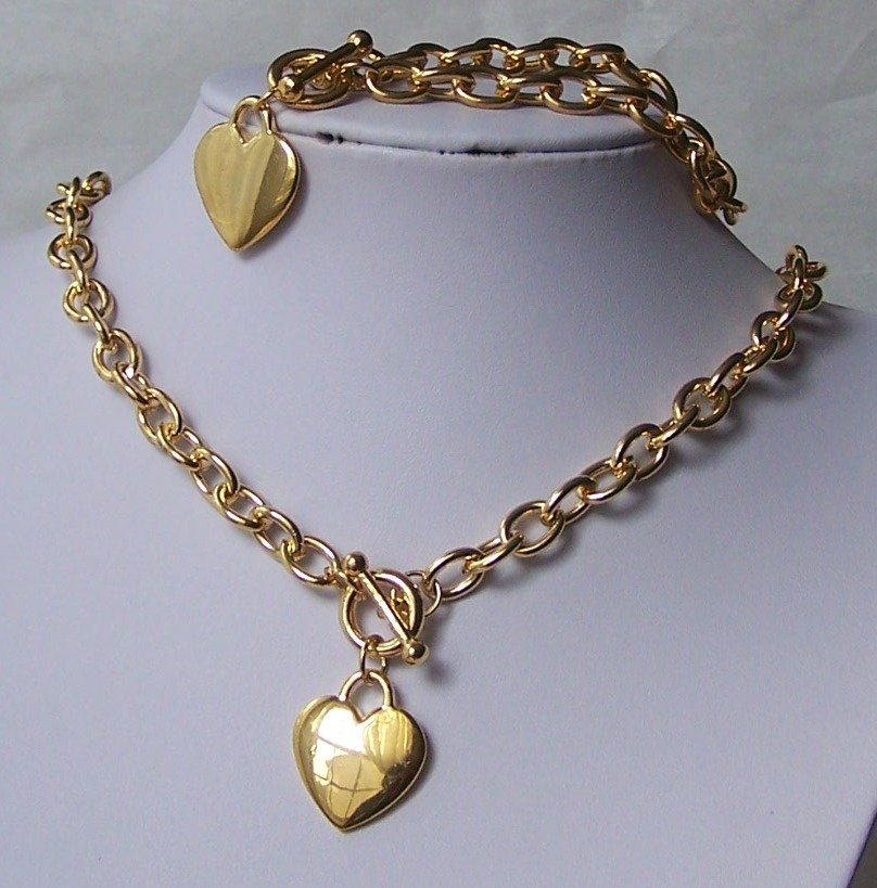 Gold Tone Heart Love Valentines Day Bracelet and Necklace Set