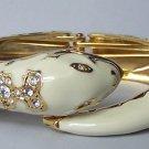 Off White Beige Clear Crystal Snake Bangle Bracelet