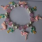 Pink Flamingo Palm Tree Bird Bead Charm Bracelet