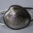 Seashell Silver Tone Chunky Bangle Bracelet