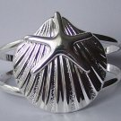 Seashell Starfish Star Fish Silver Tone Chunky Bangle Bracelet