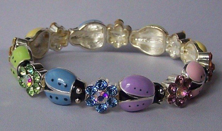 Spring Multicolor Ladybug Purple Blue Pink Yellow Green Crystal Bangle Bracelet