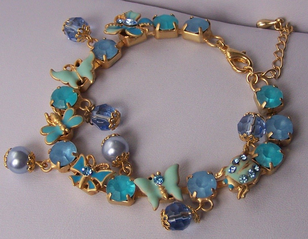 Spring Blue Butterfly Pearl Charm Crystal Gold Tone Bracelet