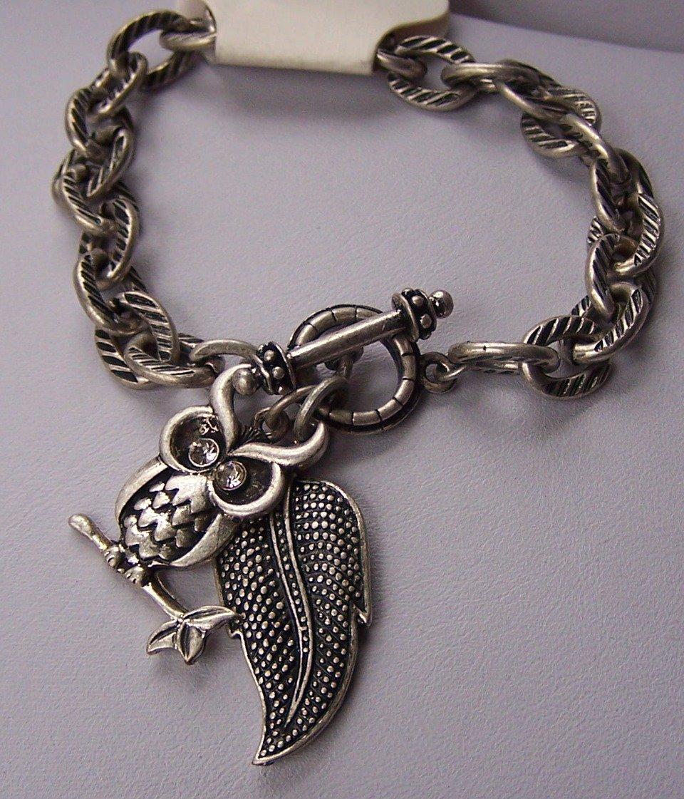 Burnished Silver Tone Clear Crystal Leaf Fall Wise Owl Charm Bracelet