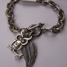 Burnished Silver Tone Clear Crystal Leaf Fall Wise Owl Charm Bracelet
