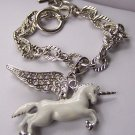 Chunky White Unicorn Clear Crystal Charm Bracelet