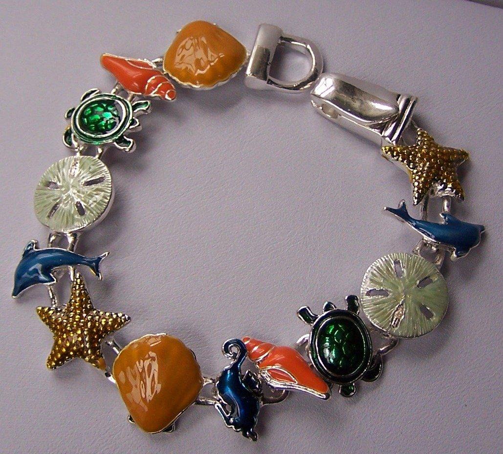 Multicolor Green Orange Blue Sea Creature Turtle Shell Starfish, Sand Dollar Horse Bracelet
