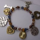 Blue Brown Dog Bone Loyalty Trust Friend Heart Charm Bracelet