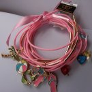 Pink Charm Summer Beach Palm Tree Ball Flip Flops Bikini Heart 15 Bracelets