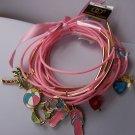 Pink Charm Summer Beach Palm Tree Ball Flip Flops Bikini Heart 15 Bracelets