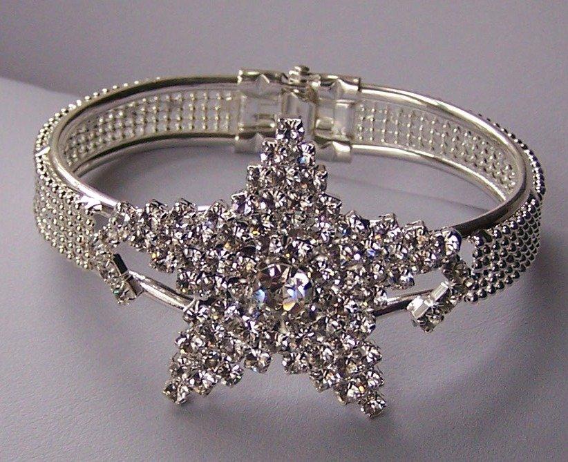 AB Aurora Borealis Clear Crystal Bangle Star Fish Starfish Bracelet