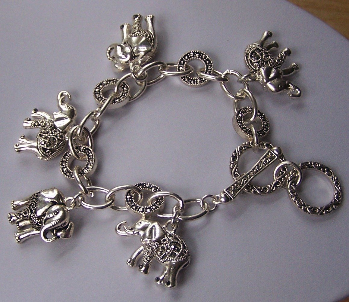 3D Elephant Animal Charm Bracelet