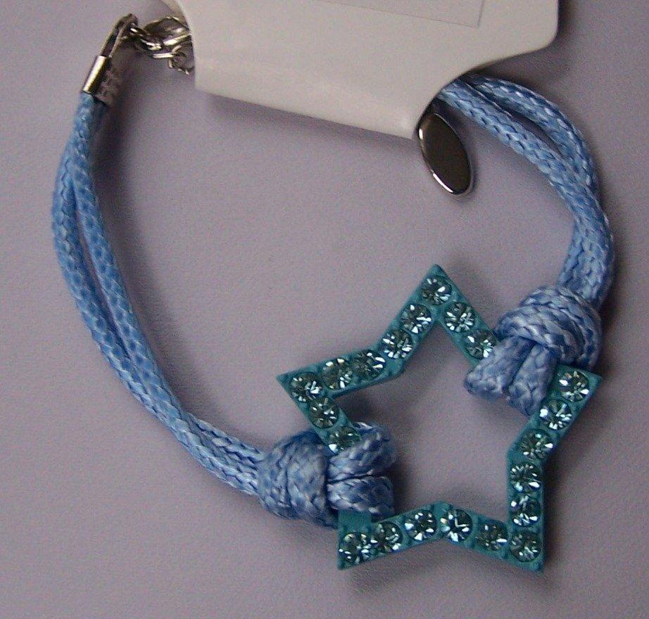 Blue Western Style Multicolor Crystal Cord Star Bracelet