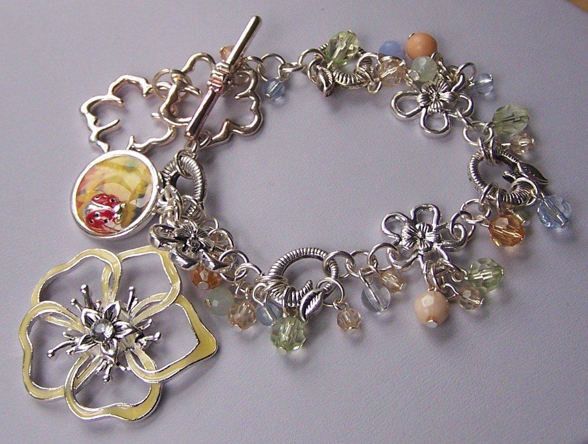 Spring Yellow Lady Bug Ladybug Flower Charm Bead Bracelet