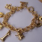 Gold Tone Dog Lover Animal Puppy Bone Charm Bracelet