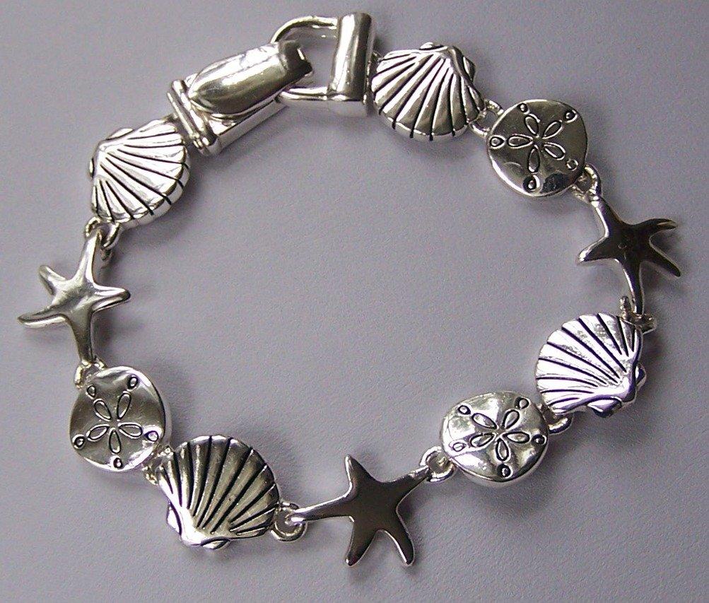 Silver Tone Star Starfish Fish Sea Shell Bracelet