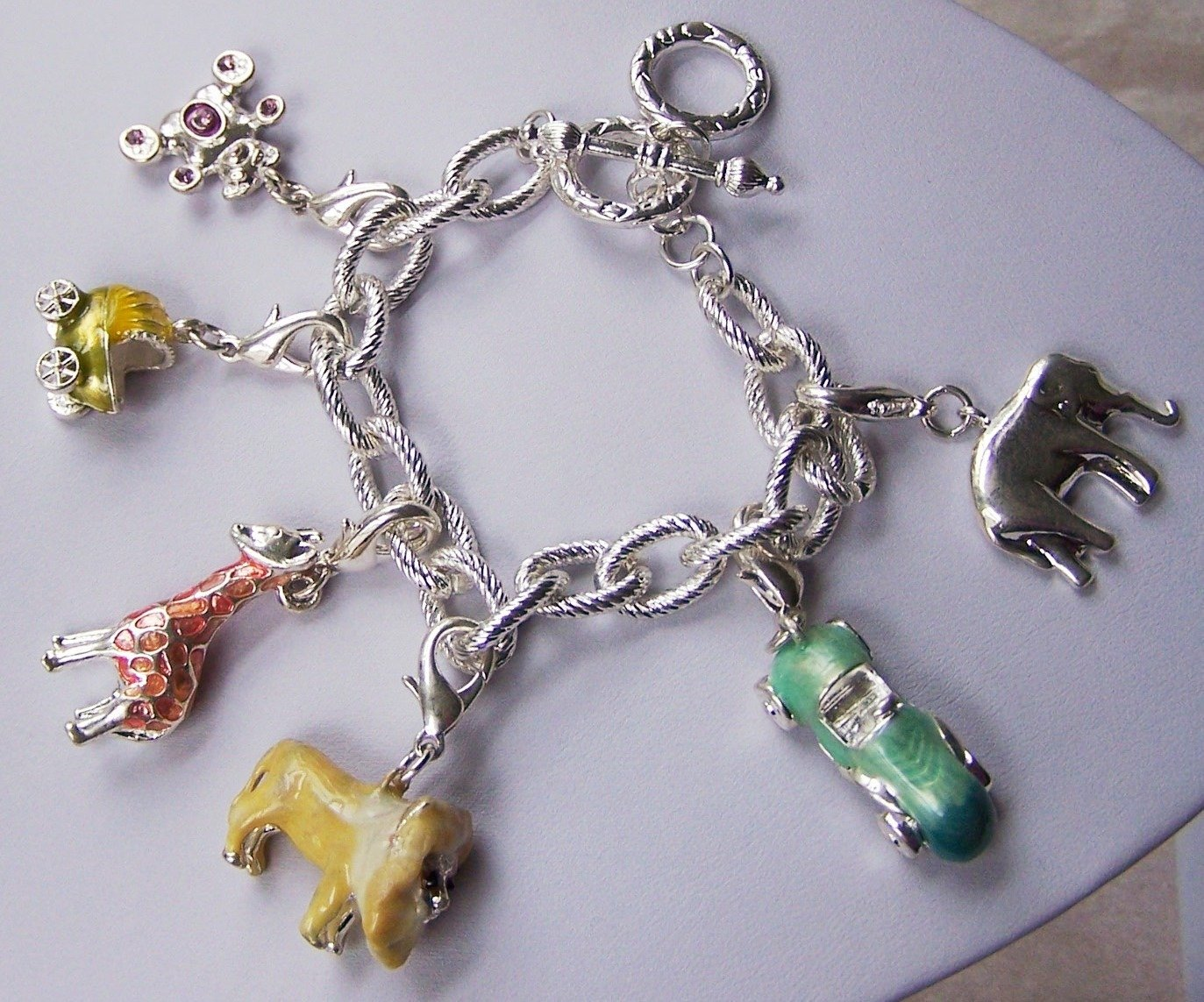 Baby Shower Giraffe Zoo Carriage Elephant Teddy Bear Charm Bracelet