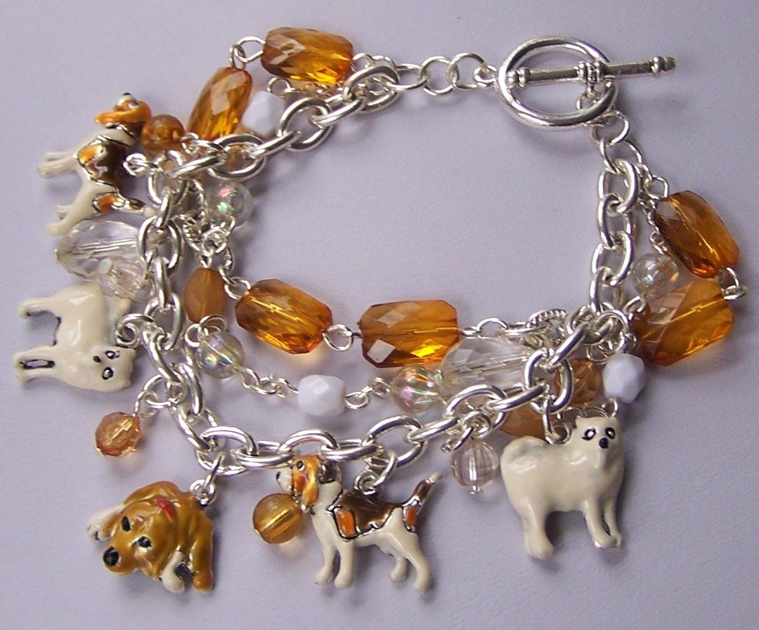 Brown Puppy Dog Off White Lover Animal Charm Bracelet