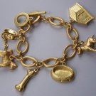 Gold Tone Bone Puppy Dog Animal Lover House Collar Charm Bracelet