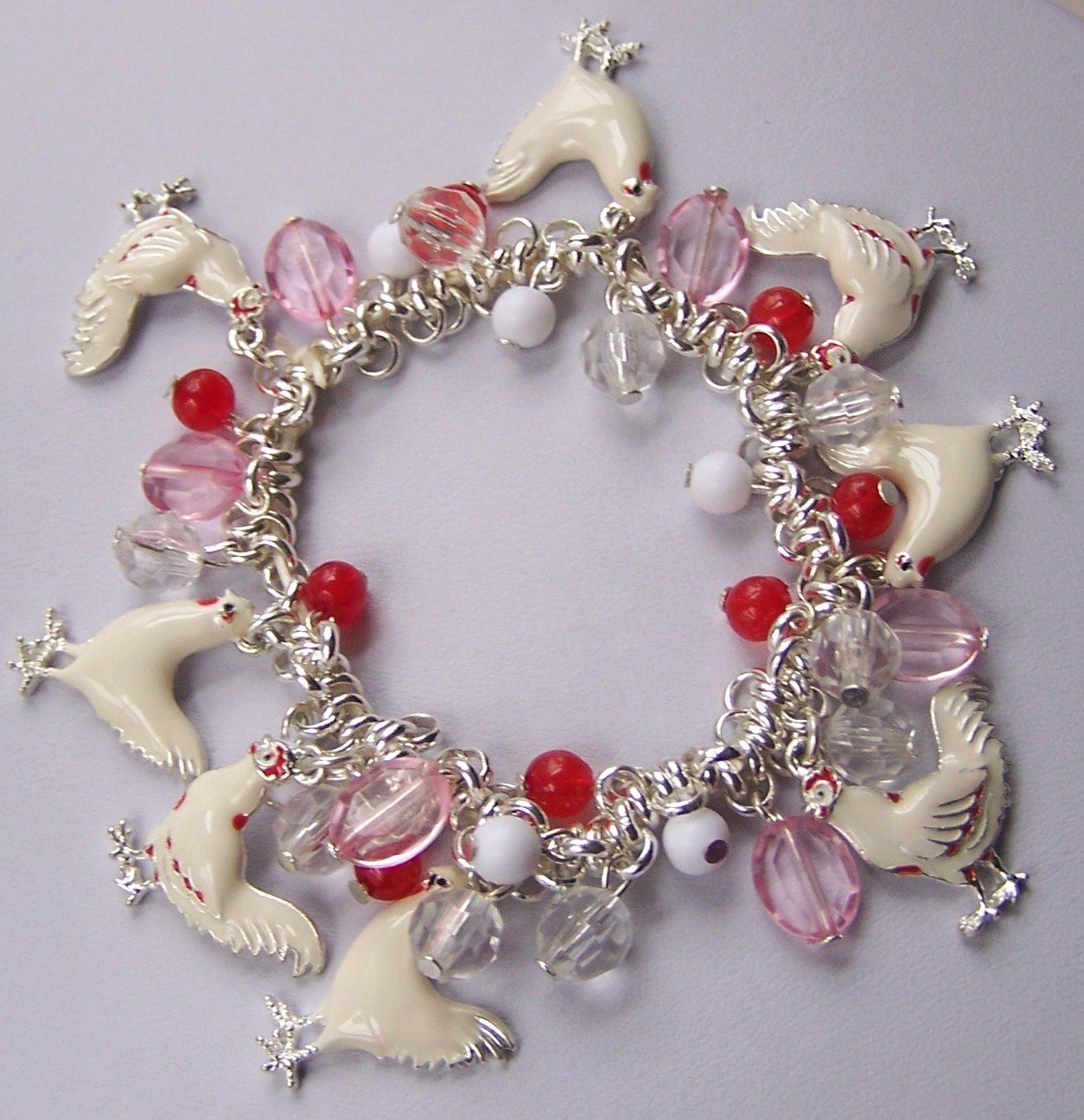 Off White Chicken Hen Rooster Red Bead Charm Bracelet