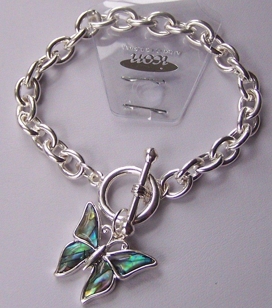 Blue Multicolor AB Aurora Borealis Butterfly Spring Charm Bracelet