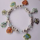 Blue Brown Multicolor Green Tropical Fish Charm Bracelet