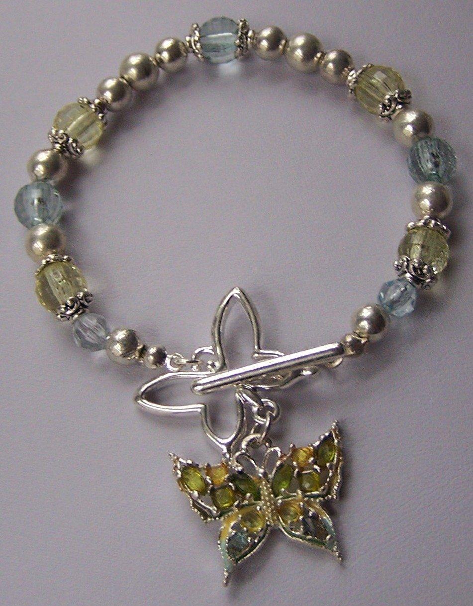 Spring Blue Green Butterfly Charm Bracelet