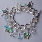 Blue AB Aurora Borealis Dolphin Fish Starfish Star Fish Charm Clear Bead Bracelet