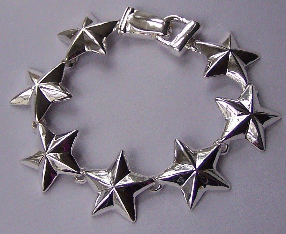 Silver Tone Star Stars Bracelet