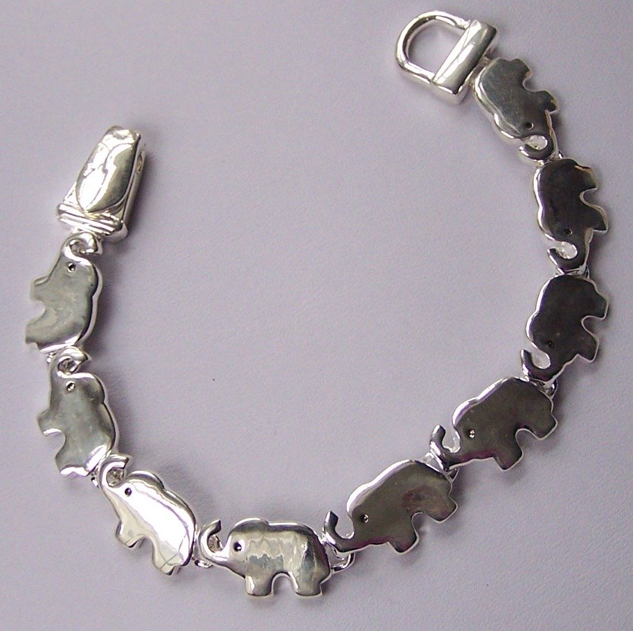 Silver Tone Safari Elephant Bracelet