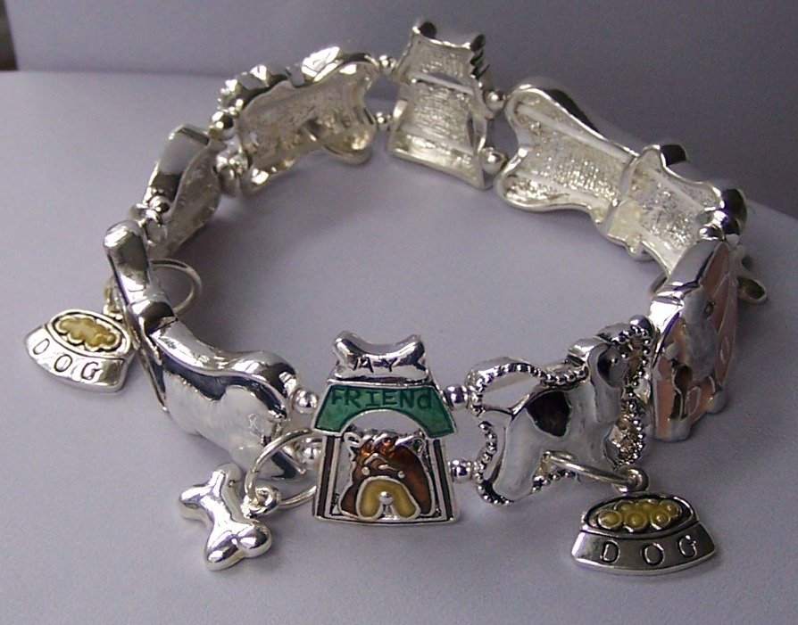 Dog Animal Lover Puppy Bone Charm Bracelet
