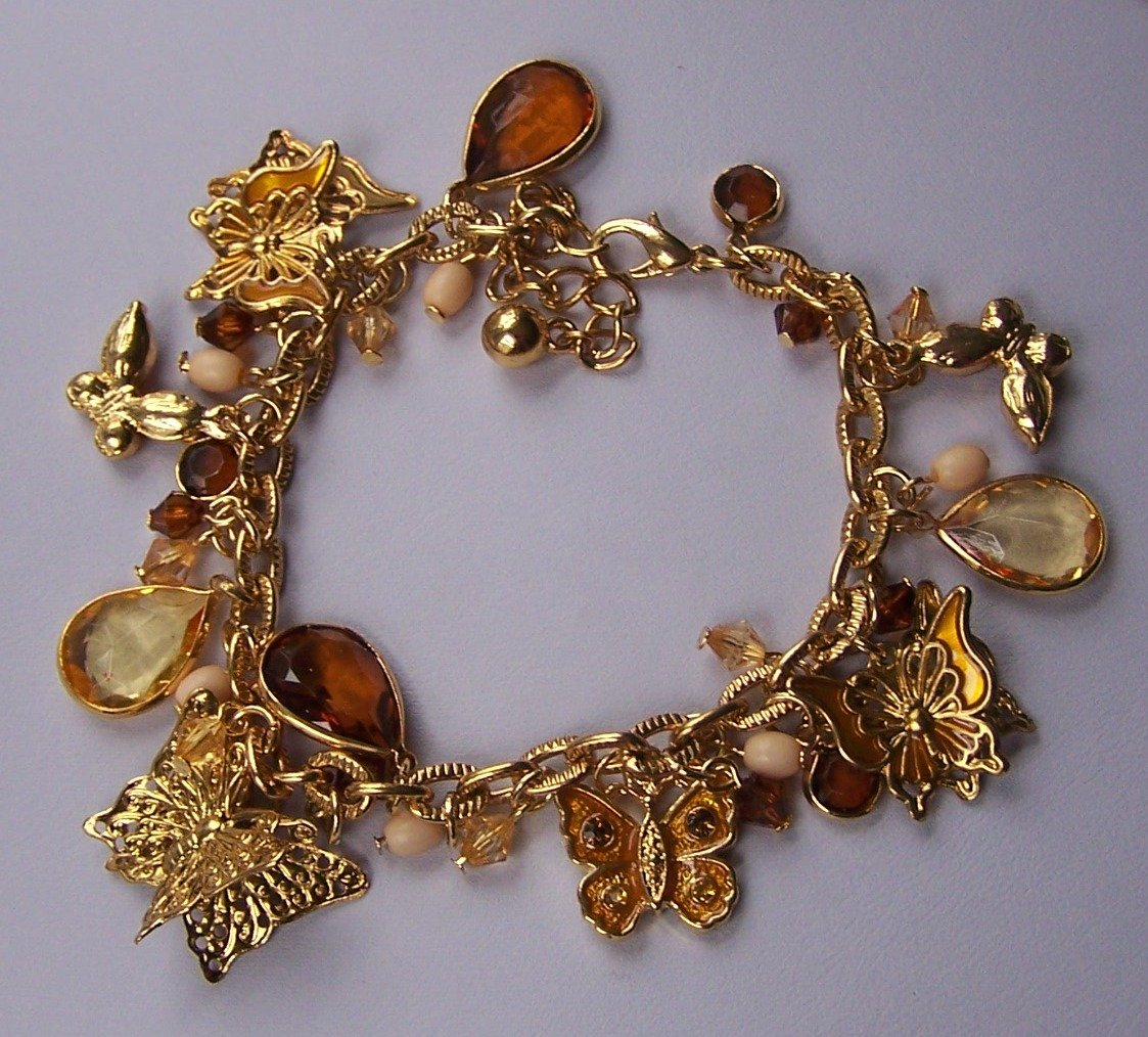 Spring Brown Butterfly Blue Bead Charm Gold Tone Bracelet