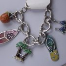 Surf Board Palm Tree Flip Flop Bikini Tropical Charm Bracelet