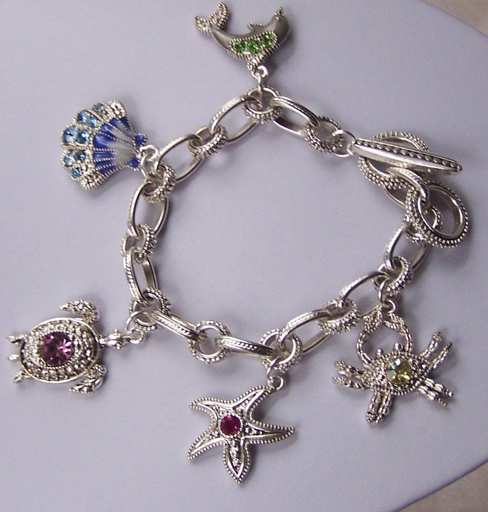 Silver Tone Multicolor Crystal Dolphin Sea Shell Turtle Star Fish Starfish Crab Charm Bracelet