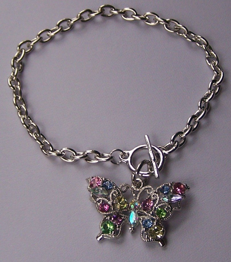 Multicolor Spring Butterfly AB Aurora Borealis Charm Bracelet